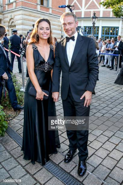 German politician Christian Lindner with his partner Franca Lehfeldt during the opening ceremony of the Bayreuth Festival at Bayreuth Festspielhaus...