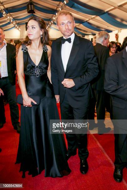 German politician Christian Lindner with his partner Franca Lehfeldt attend the Bayreuth Festival 2018 state reception at Neues Schloss on July 25...