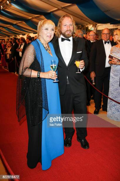 German politician Claudia Roth and German politician Anton Hofreiter during the Bayreuth Festival 2017 State Reception on July 25 2017 in Bayreuth...