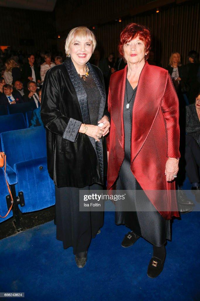 German politician Claudia Roth and producer Regina Ziegler attend the Deutscher Hoerfilmpreis at Kino International on March 21, 2017 in Berlin, Germany.
