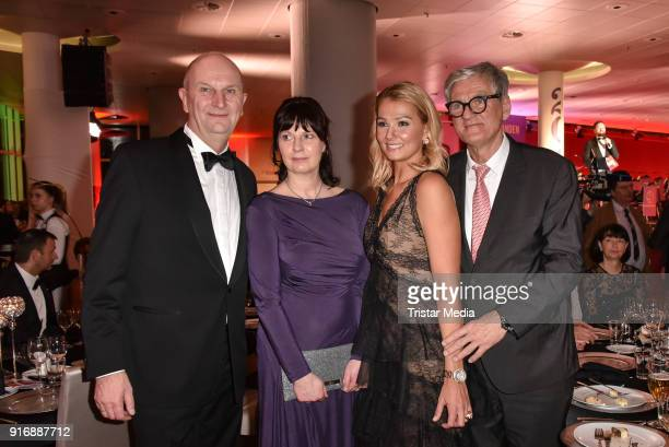 German politician Dietmar Woidke and his wife Susanne Woidke Franziska van Almsick and her father Bernd van Almsick attend the 18th Brandenburg Ball...
