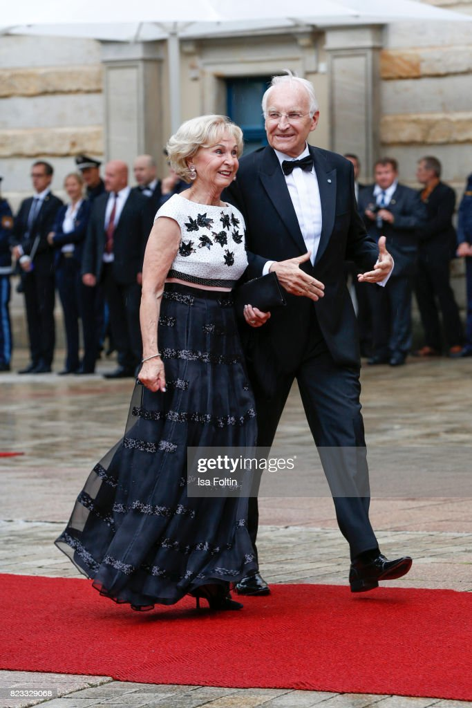 German politician Edmund Stoiber and his wife Karin Stoiber attend the Bayreuth Festival 2017 Opening on July 25, 2017 in Bayreuth, Germany.