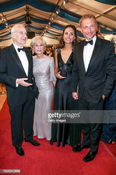 German politician Edmund Stoiber and his wife karin Stoiber German politician Christian Lindner with his partner Franca Lehfeldt attend the Bayreuth...