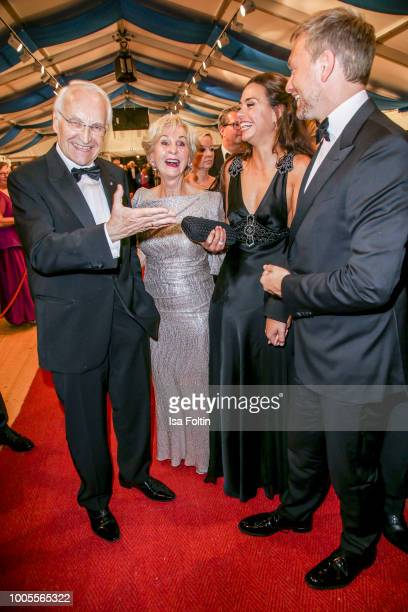 German politician Edmund Stoiber and his wife Karin Stoiber with German politician Christian Lindner with his partner Franca Lehfeldt attend the...