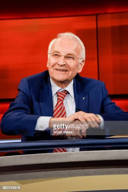 German politician Edmund Stoiber during the 'Hart aber fair' TV Show Photo Call on October 16 2017 in Berlin Germany