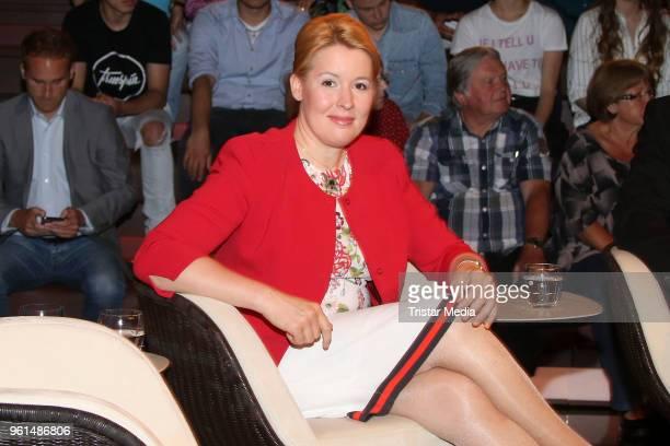 German politician Franziska Giffey attends the TV show 'Markus Lanz' on May 22 2018 in Hamburg Germany
