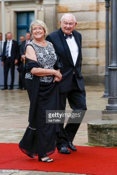 German politician Guenther Beckstein and his wife Marga Beckstein attend the Bayreuth Festival 2017 Opening on July 25 2017 in Bayreuth Germany