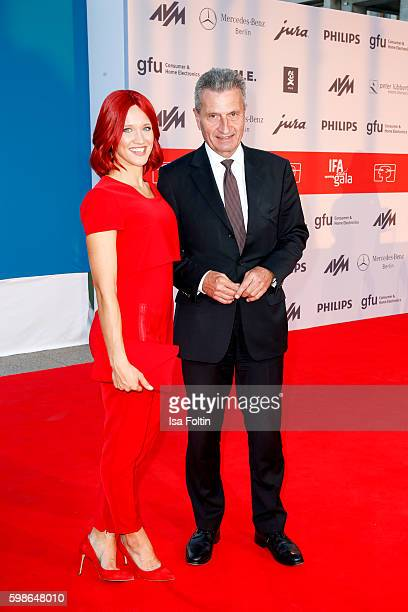 German politician Guenther Oettinger and Miss IFA attend the IFA 2016 opening gala on September 1 2016 in Berlin Germany
