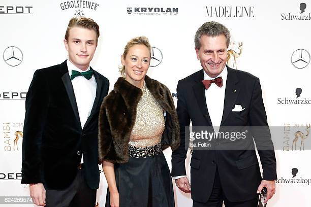 German politician Guenther Oettinger his son Alexander Oettinger and his wife Friederike Beyer arrive at the Bambi Awards 2016 at Stage Theater on...