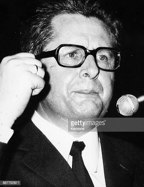 German politician HansJochen Vogel giving a speech March 11th 1971