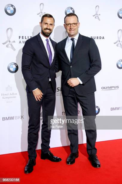 German politician Jens Spahn and his boyfriend Daniel Funke attend the Felix Burda Award at Hotel Adlon on May 13 2018 in Berlin Germany