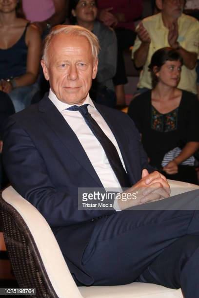 German politician Juergen Trittin during the 'Markus Lanz' TV show on August 29 2018 in Hamburg Germany