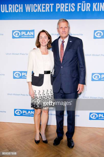 German politician Katarina Barley and German news anchor Ulrich Wickert attend the Ulrich Wickert Award For Children's Rights at Stadtbad Oderberger...