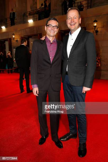 German politician Klaus Lederer and his husband Dirk Behrendt attend the Re-Opening of the Staatsoper Unter den Linden on October 3, 2017 in Berlin,...