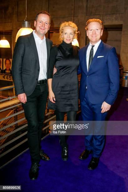 German politician Klaus Lederer German actress Katja Riemann and violinist Daniel Hope attend the premiere of 'Der Klang des Lebens' at Kino in der...
