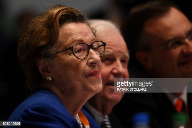 German politician Kurt Biedenkopf and his wife Ingrid Biedenkopf follows a speech during conservative Christian Democratic Union party's congress in...