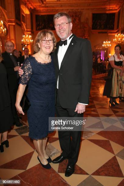 German politician Marcel Huber and his wife Adelgunde Huber during the new year reception of the Bavarian state government at Residenz on January 12...