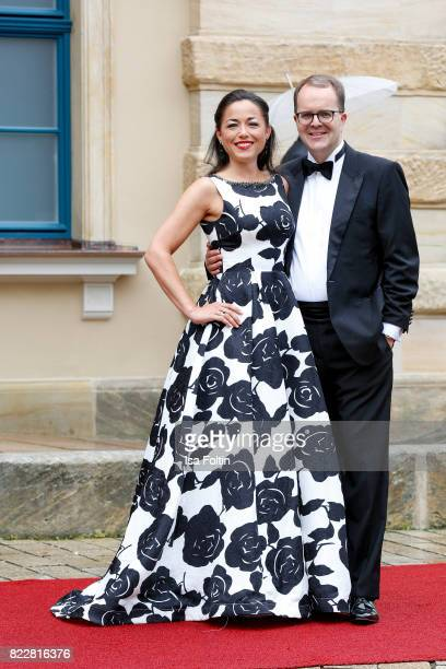 German politician Markus Rinderspacher and Franziska Rable attend the Bayreuth Festival 2017 Opening on July 25 2017 in Bayreuth Germany