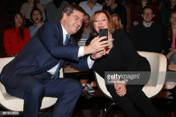 German politician Markus Soeder and German actress Heide Keller during the TV Show 'Markus Lanz' on December 13 2017 in Hamburg Germany