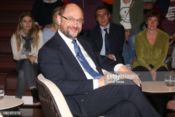 German politician Martin Schulz during the 'Markus Lanz' TV Show on November 13, 2018 in Hamburg, Germany.
