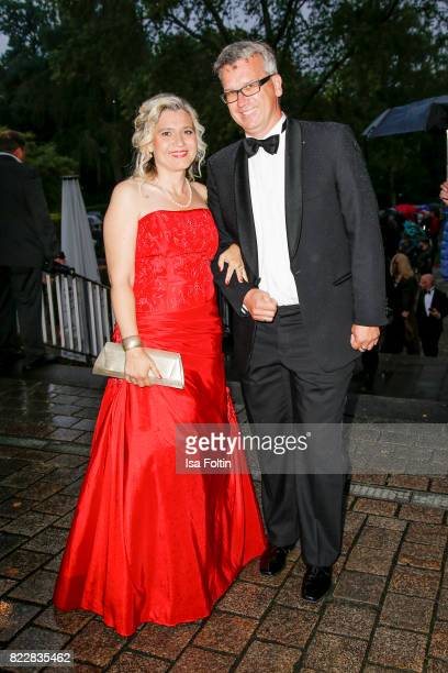 German politician Melanie Huml and her husband Markus Huml attend the Bayreuth Festival 2017 Opening on July 25 2017 in Bayreuth Germany