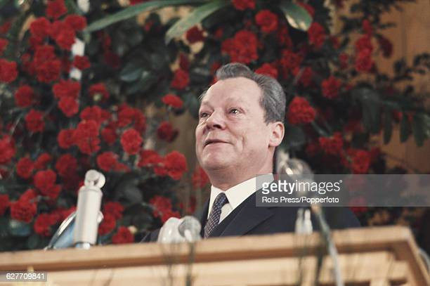 German politician Minister for Foreign Affairs and Vice Chancellor of the Federal Republic of Germany Willy Brandt speaks from the platform at the...