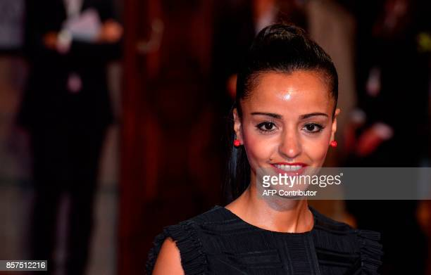 German politician of Palestinian descent Sawsan Chebli arrives for the reopening of the State Opera in Berlin on October 3 2017 The State Opera in...