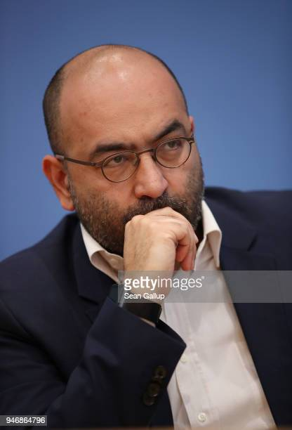 German politician Omid Nouripour attends a press conference with Iranianborn actress and human rights advocate Nazanin Boniadi on April 16 2018 in...