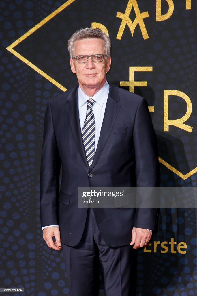 German politician Thomas de Maiziere attends the 'Babylon Berlin' Premiere at Berlin Ensemble on September 28, 2017 in Berlin, Germany.
