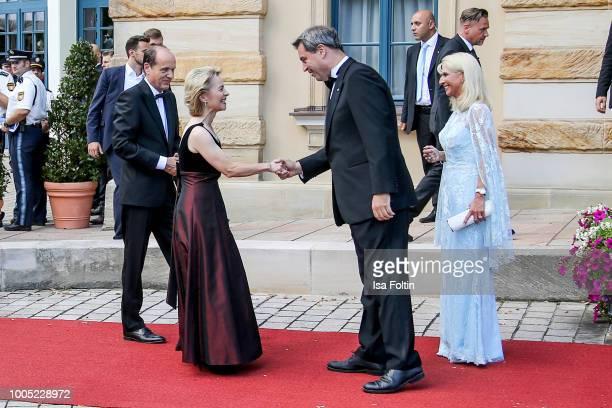 German politician Ursula von der Leyen, Bavarian State Premier minister Markus Soeder and his wife Karin Baumueller during the opening ceremony of...