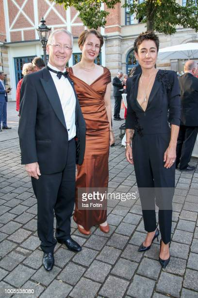 German politician Werner Schnappauf with German presenter Dunja Hayali and guest during the opening ceremony of the Bayreuth Festival at Bayreuth...