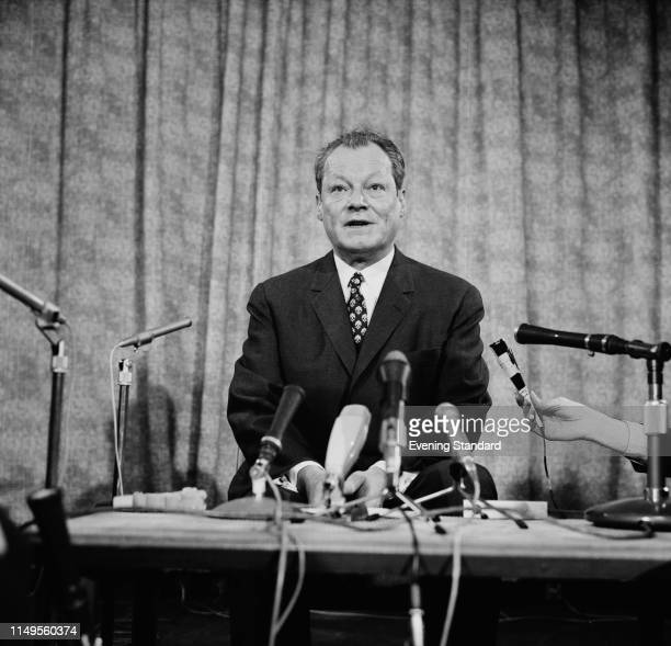 German politician Willy Brandt Leader of the Social Democratic Party of Germany and Chancellor of West Germany at a press conference UK 2nd March 1970