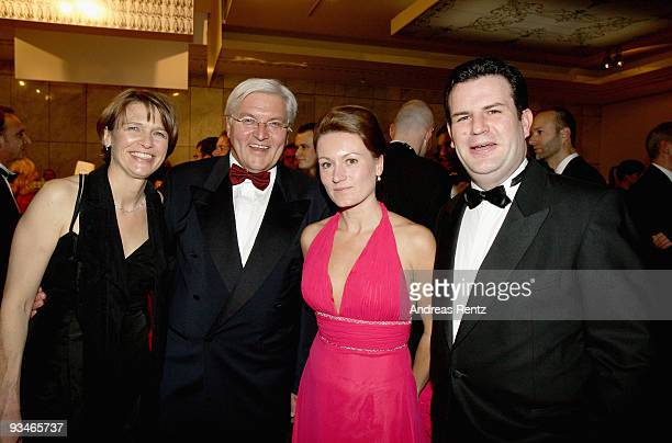 German politicians FrankWalter Steinmeier with his wife Elke Buedenbender and Hubertus Heil with his wife Solveig Orlowski attend the annual press...