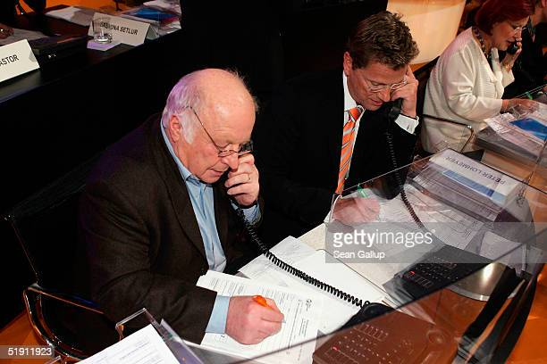 German politicians Norbert Bluem , Guido Westerwelle and Heidemarie Wieczorek-Zeul take phone calls from donors at the live broadcast of the SAT.1...