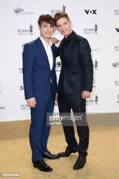 German pop band Die Lochis Heiko Lochmann and Roman Lochmann wearing Karl Lagerfeld arrive for the Echo Award at Messe Berlin on April 12 2018 in...