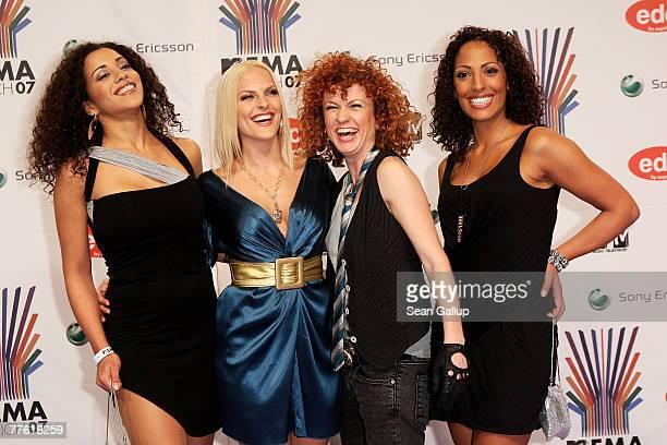 German pop group No Angels Jessica Wahls, Lucy Diakovska, Sandy Moelling and Nadja Benaissa arrives at the MTV Europe Music Awards 2007 at the...