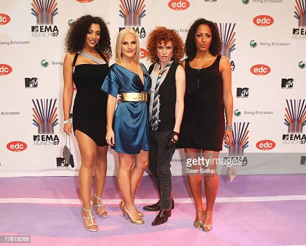 German pop group No Angels Jessica Wahls Lucy Diakovska Sandy Moelling and Nadja Benaissa arrives at the MTV Europe Music Awards 2007 at the...