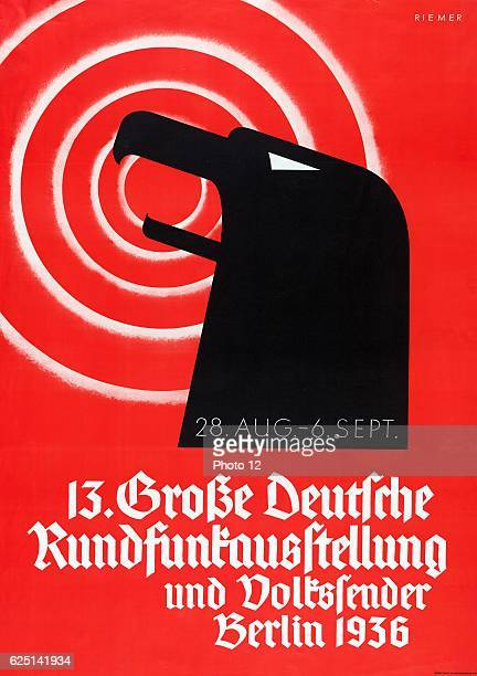 German Poster announcing a radio broadcasting in Berlin AugustSeptember 1936 Lithograph