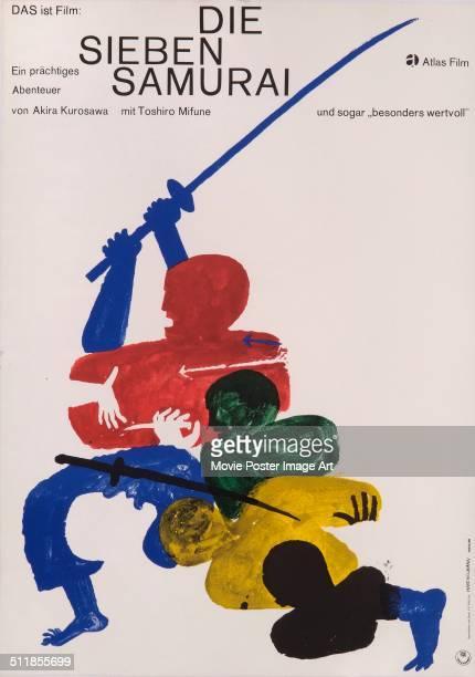 A German poster for Akira Kurosawa's 1954 drama 'Die Sieben Samurai'