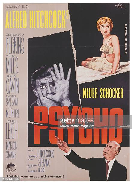 A German poster for Alfred Hitchcock's 1960 horror film 'Psycho' starring Anthony Perkins and Janet Leigh