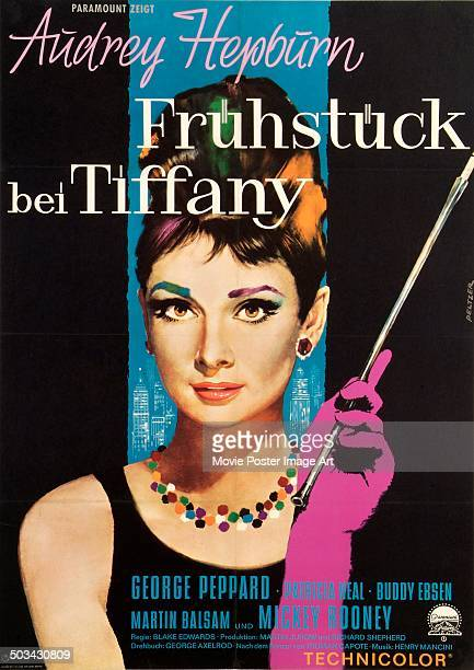 A German poster for Blake Edwards' 1961 romantic comedy 'Breakfast at Tiffany's' starring Audrey Hepburn