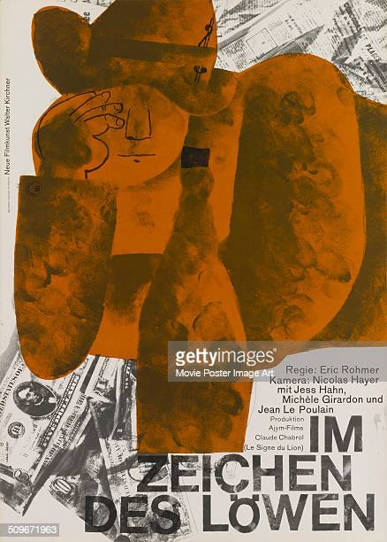 A German poster for the French movie 'Le Signe du Lion' titled 'Im Zeichen des Löwen' 1962 The film was directed by Eric Rohmer