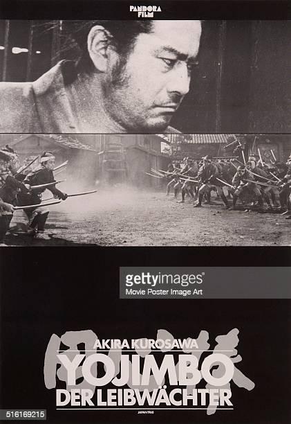 A German poster for the Japanese movie 'Yojimbo' written and directed by Akira Kurosawa 1961 The film is titled 'Yojimbo Der Leibwächter' in German
