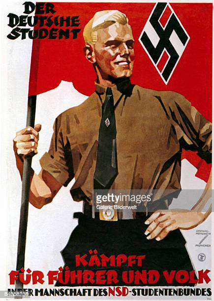 A German poster for the National Socialist German Students' League featuring a smiling blonde student holding the flag of the organisation circa 1935...