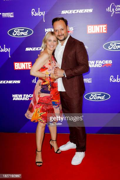 German preesenter Jennifer Knaeble and her husband Felix Moese attend the Bunte New Faces Award Style on July 5, 2021 in Frankfurt am Main, Germany.