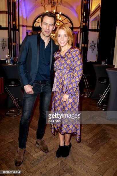 German presenter Alexander Mazza and German actress Annika Ernst attend the Blaue Blume Awards at Restaurant Grosz on February 6, 2019 in Berlin,...