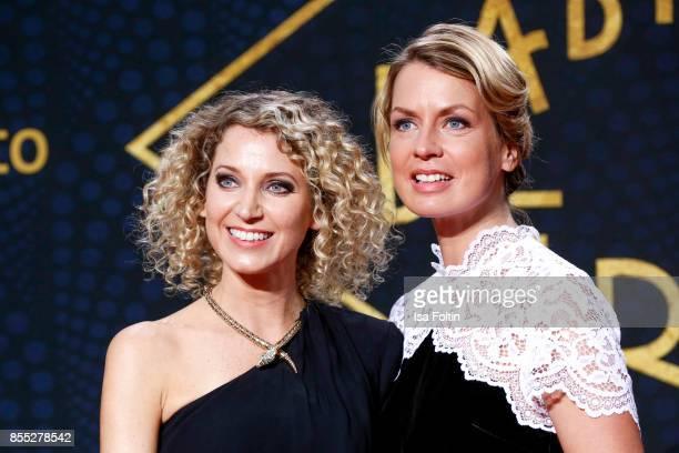 German presenter Aline von Drateln and German presenter Jessy Wellmer attend the 'Babylon Berlin' Premiere at Berlin Ensemble on September 28 2017 in...