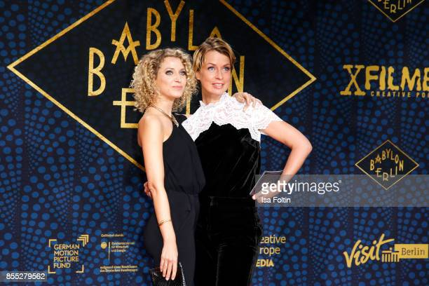 German presenter Aline von Drateln and German presenter Jessy Wellmer attend the 'Babylon Berlin' Premiere at Berlin Ensemble on September 28, 2017...