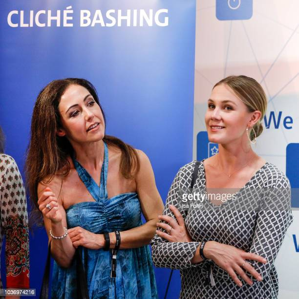 German presenter Anastasia Zampounidis and German presenter Alina Merkau during the discussion panel of Cliché Bashing 'I m perfect Take it easy Girl...