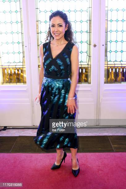German presenter Anastasia Zampounidis wearing a dress by MADELEINE at the premiere of Mamma Mia Das Musical at Stage Theater des Westens on...